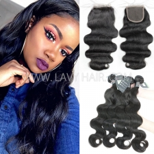 Regular Grade mix 3 bundles with lace closure Cambodian Body Wave Virgin Human hair extensions