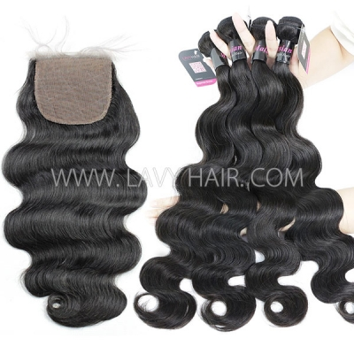 "Superior Grade mix 3 bundles with silk base closure 4*4"" Malaysian Body wave Virgin Human hair extensions"