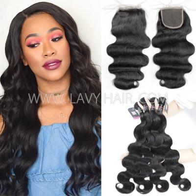 Superior Grade mix 3 bundles with lace closure Malaysian Body wave Virgin Human hair extensions