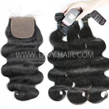 "Superior Grade mix 3 bundles with silk base closure 4*4"" European Body wave Virgin Human hair extensions"