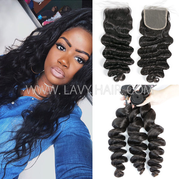 Superior Grade mix 3 bundles with lace closure Indian loose wave Virgin Human hair extensions