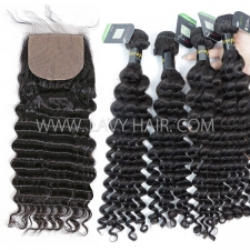 "Regular Grade mix 3 bundles with silk base closure 4*4"" European Deep wave Virgin Human   hair extensions"