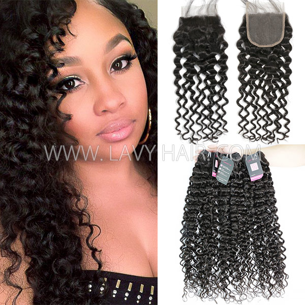 Superior Grade Mix 3 Bundles With Lace Closure Malaysian Italian