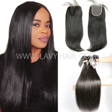 Superior Grade mix 3 bundles with lace closure Cambodian Straight Virgin Human hair extensions