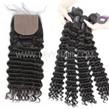 "Superior Grade mix 3 bundles with silk base closure 4*4"" Peruvian Deep wave Virgin Human hair extensions"