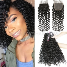 Superior Grade mix 3 bundles with lace closure Peruvian Italian Curly Virgin Human hair extensions