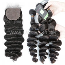 "Regular Grade mix 3 bundles with silk base closure 4*4"" Burmese Loose Wave Virgin Human hair extensions"
