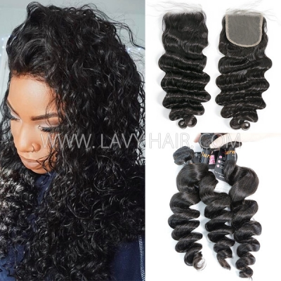 Superior Grade mix 3 bundles with lace closure Burmese loose wave Virgin Human hair extensions