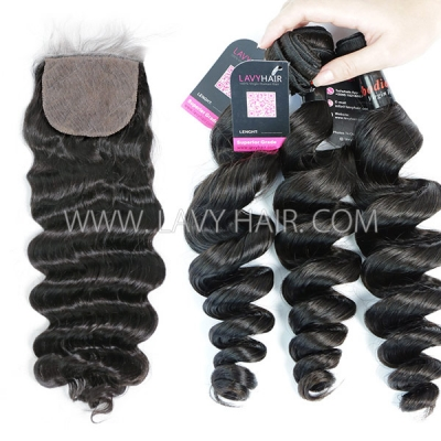 "Superior Grade mix 3 bundles with silk base closure 4*4"" Cambodian loose wave Virgin Human hair extensions"