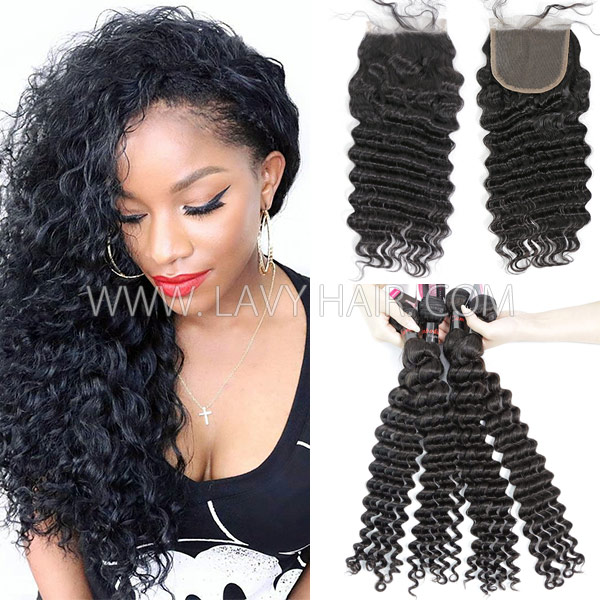 Superior Grade mix 3 bundles with lace closure Cambodian deep wave Virgin Human hair extensions