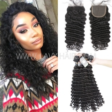 Regular Grade mix 3 bundles with lace closure Indian Deep wave Virgin Human hair extensions