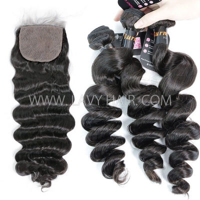 "Superior Grade mix 3 bundles with silk base closure 4*4"" Burmese loose wave Virgin Human hair extensions"