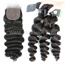 "Regular Grade mix 3 bundles with silk base closure 4*4"" Mongolian Loose Wave Virgin Human hair extensions"