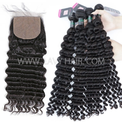"Superior Grade 3 bundles with silk base closure 4*4"" Deep wave Virgin hair Brazilian Peruvian Malaysian Indian European Cambodian Burmese Mongolian"