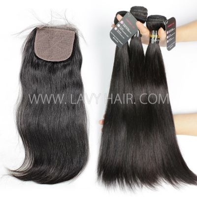 "Superior Grade mix 3 bundles with silk base closure 4*4"" European Straight Virgin Human Hair Extensions"