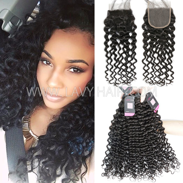 Superior Grade mix 3 bundles with lace closure Cambodian Italian Curly Virgin Human hair extensions
