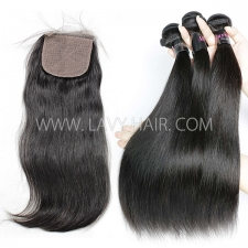"Regular Grade mix 3 bundles with silk base closure 4*4"" Malaysian Straight Virgin Human hair extensions"