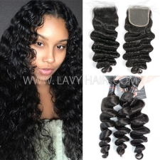 Regular Grade mix 3 bundles with lace closure cambodian Loose Wave Virgin Human hair extensions