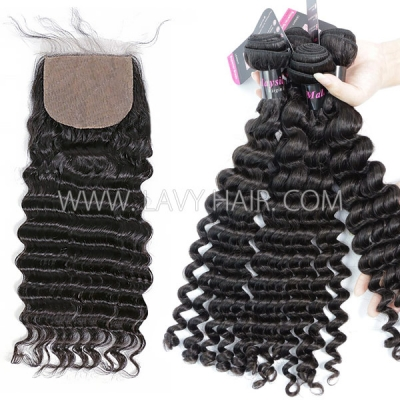 "Superior Grade mix 3 bundles with silk base closure 4*4"" Malaysian deep wave Virgin Human hair extensions"