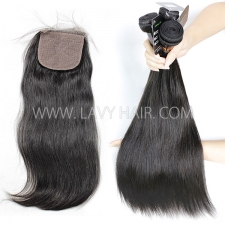 "Regular Grade mix 3 bundles with silk base closure 4*4"" Burmese Straight Virgin Human hair extensions"