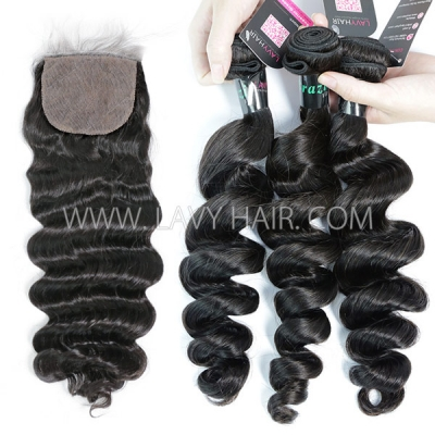 "Superior Grade 3 bundles with silk base closure 4*4"" loose wave Virgin Hair Brazilian Peruvian Malaysian Indian European Cambodian Burmese Mongolian"