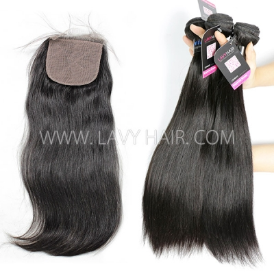 "Superior Grade mix 3 bundles with silk base closure 4*4"" Peruvian Straight Virgin Human Hair Extensions"