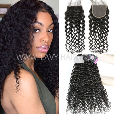 beb03d17f Superior Grade mix 3 bundles with lace closure Brazilian Italian Curly  Virgin Human hair extensions ...