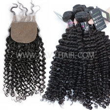 "Regular Grade mix 3 bundles with silk base closure 4*4"" Malaysian Deep Curly Virgin Human hair extensions"