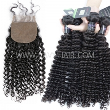 "Regular Grade mix 3 bundles with silk base closure 4*4"" Mongolian Deep Curly Virgin Human hair extensions"