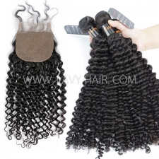 "Superior Grade mix 3 bundles with silk base closure 4*4"" Burmese Deep Curly Virgin Human hair extensions"