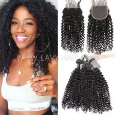 Regular Grade mix 3 bundles with lace closure Burmese Deep Curly Virgin Human hair extensions