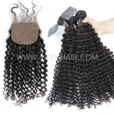 "Superior Grade mix 3 bundles with silk base closure 4*4"" Indian Deep Curly Virgin Human hair extensions"
