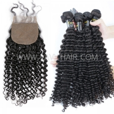 "Superior Grade mix 3 bundles with silk base closure 4*4"" European deep curly Virgin Human hair   extensions"