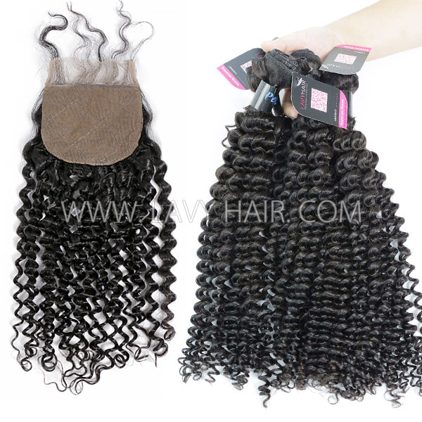 "Superior Grade mix 3 bundles with silk base closure 4*4"" Peruvian Deep Curly Virgin Human hair extensions"