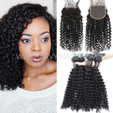 Regular Grade mix 3 bundles with lace closure Mongolian Deep Curly Virgin Human hair extensions
