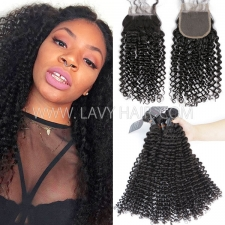 Superior Grade mix 3 bundles with lace closure Indian Deep Curly Virgin Human hair extensions