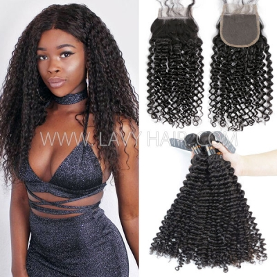 Superior Grade mix 3 bundles with lace closure Burmese Deep Curly Virgin Human hair extensions