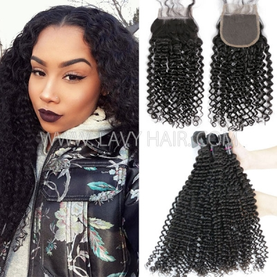 Superior Grade mix 3 bundles with lace closure Malaysian deep curly Virgin Human hair extensions