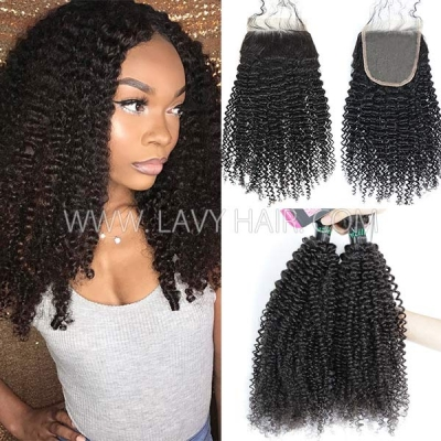 Superior Grade mix 3 bundles with lace closure Brazilian Kinky Curly Virgin Human hair extensions