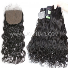 "Regular Grade mix 3 bundles with silk base closure 4*4"" Indian Natural Wave Virgin Human hair extensions"