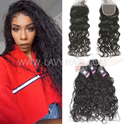 Superior Grade mix 3 bundles with lace closure Cambodian natural wave Virgin Human hair extensions