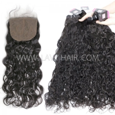 "Superior Grade mix 3 bundles with silk base closure 4*4"" Brazilian natural wave Virgin Human hair extensions"
