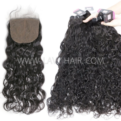 "Superior Grade 3 bundles with silk base closure 4*4"" natural wave Virgin hair Brazilian Peruvian Malaysian Indian European Cambodian Burmese Mongolian"
