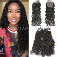 Regular Grade mix 3 bundles with lace closure Malaysian Natural Wave Virgin Human hair extensions