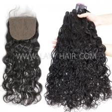 "Superior Grade mix 3 bundles with silk base closure 4*4"" Indian Natural Wave Virgin Human Hair Extensions"