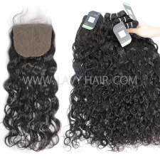 "Regular Grade mix 3 bundles with silk base closure 4*4"" Peruvian Natural wave Virgin Human hair extensions"
