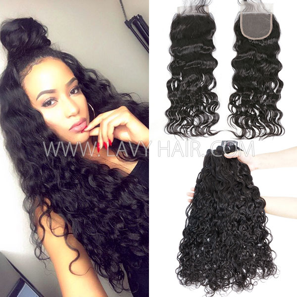 Superior Grade mix 3 bundles with lace closure Indian Natural Wave Virgin Human Hair Extensions