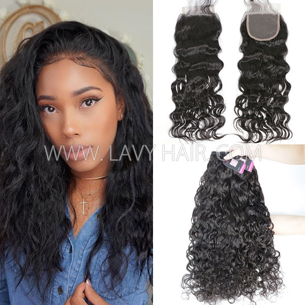 Superior Grade Mix 3 Bundles With Lace Closure Malaysian Natural