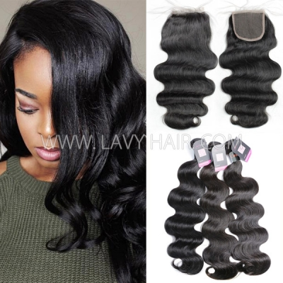 Superior Grade mix 3 bundles with lace closure Cambodian Body Wave Virgin Human hair extensions