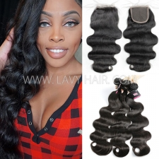 Superior Grade mix 3 bundles with lace closure Mongolian Body wave Virgin Human hair extensions